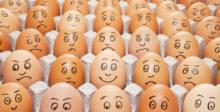 one happy egg amongst sad eggs