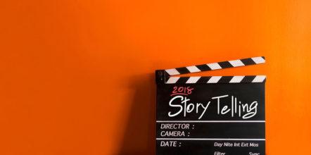 Imagem de claquete de cinema escrito storytelling